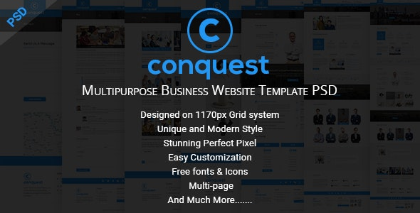 CONQUEST - Multipurpose Business Website Template PSD - Business Corporate