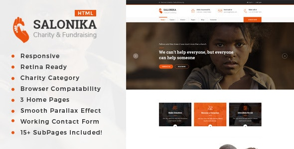 Salonika - Responsive HTML Template for Charity & Fund Raising - Charity Nonprofit