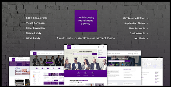 Recruitment Agency - Multi Industry Responsive WordPress Theme - Directory & Listings Corporate
