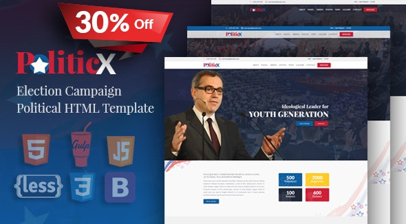 Politicx - Political, Candidate & Election Campaign HTML Template - Political Nonprofit