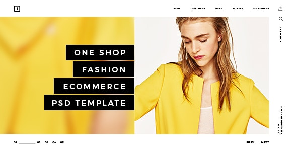 ONE SHOP - Fashion Ecommerce PSD Template - Retail Photoshop