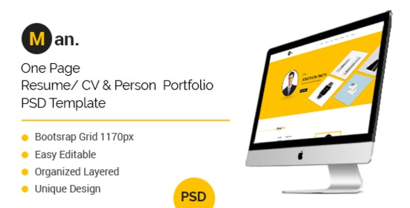 Man- One Page Personal Resume/CV Template - Photoshop UI Templates