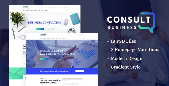 Consulting Business - Consulting PSD Template - Business Corporate