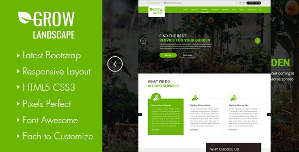 Grow - Landscaping and Gardening HTML Template - Business Corporate