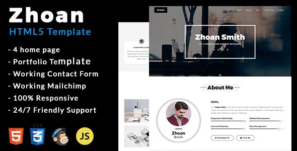 Zhoan - Personal Portfolio Template by ShapeSquare | ThemeForest