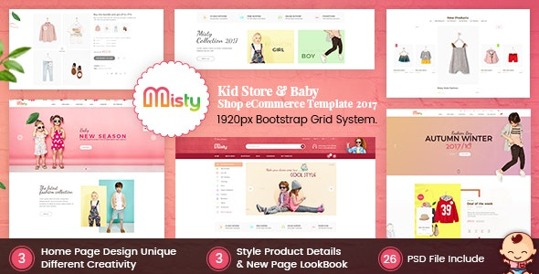 Misty – Kid Store eCommerce PSD Template - Shopping Retail