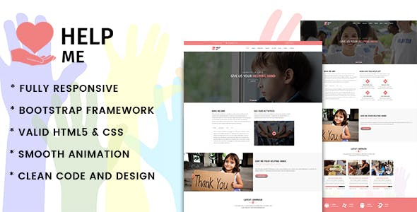 HelpMe   Nonprofit, Donation, Charity HTML5 Template