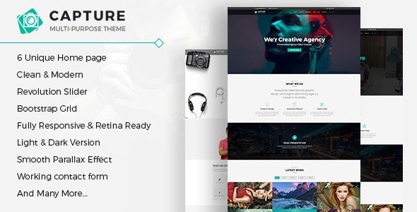 Capture - One Page Multipurpose HTML Template - Photography Creative