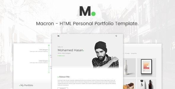 Macron - HTML Personal Portfolio Template. - Portfolio Creative