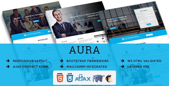 AURA - Multipurpose Responsive HTML Landing Pages - Business Corporate
