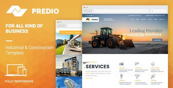 Predio Responsive | Industrial and Construction One Page Muse Template