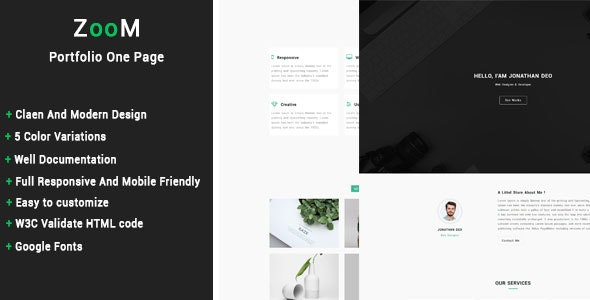 ZooM - Portfolio One Page Template - Personal Site Templates