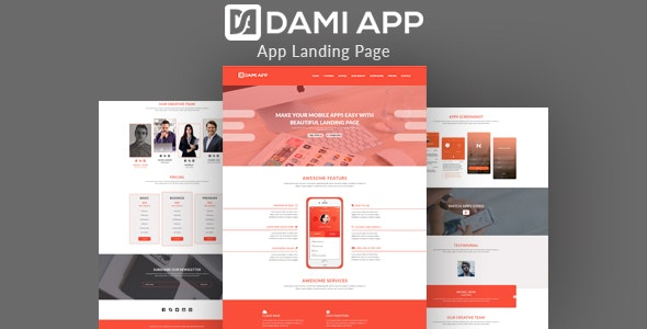 DamiApp - Landing HTML App Template - Software Technology