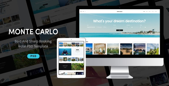 Monte Carlo - Bold And Sharp Booking Hotel PSD Theme - Travel Retail