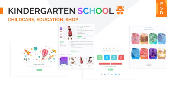 Kindergarten School PSD Template - Children Retail
