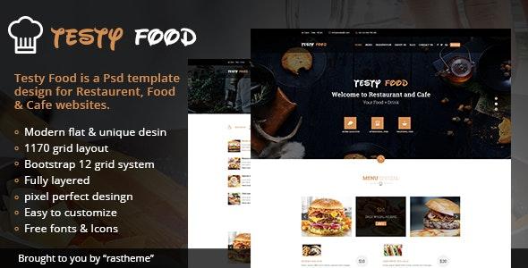 Testy Food - Cafe, Bar, pathao & Restaurant PSD Template - Restaurants & Cafes Entertainment