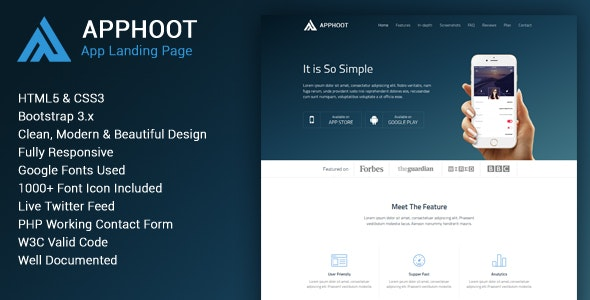 Apphoot - Responsive App Landing Page Template - Apps Technology