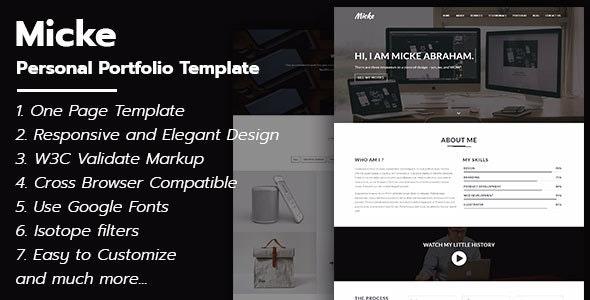 Micke - Personal Portfolio Template - Personal Site Templates