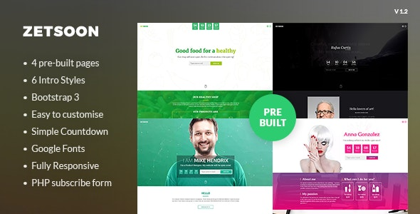ZetSoon - Multipurpose Coming Soon Template - Under Construction Specialty Pages