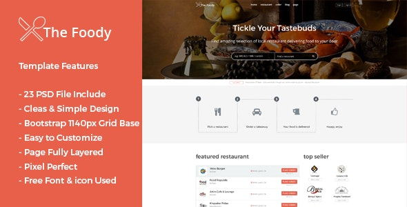 Thefoody - Multiple Restaurant System PSD Template - Restaurants & Cafes Entertainment