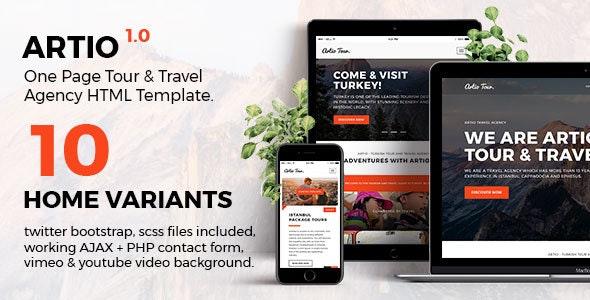 Artio - Tour & Travel Agency HTML Template - Travel Retail