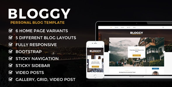 Bloggy - Personal Blog Template - Creative Site Templates