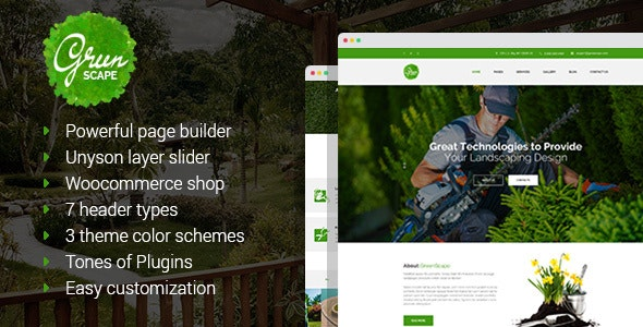 Greenscape - Lawn Mowing & Garden Landscaping WordPress Theme - Business Corporate