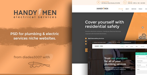 HandyMen - Plumbing & Electrical Services PSD Template - Creative Photoshop