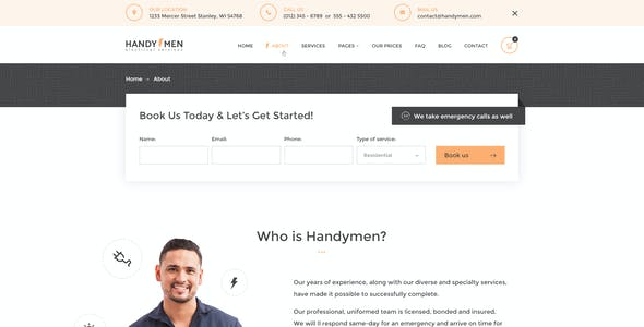HandyMen - Plumbing & Electrical Services PSD Template