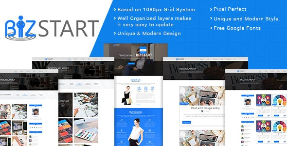 Bizstart Business Corporate PSD Template - Corporate Photoshop