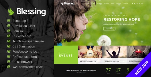 Blessing - Church Website Template - Churches Nonprofit
