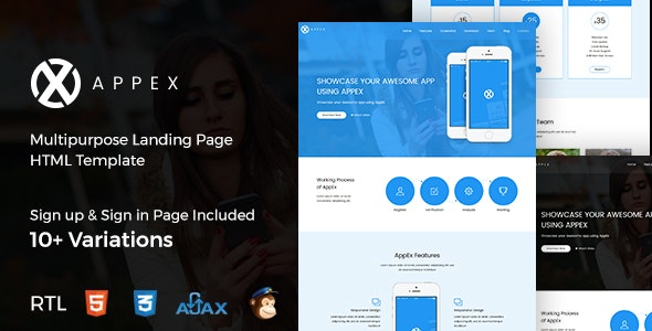 AppEx - App Landing Page + RTL - Landing Pages Marketing