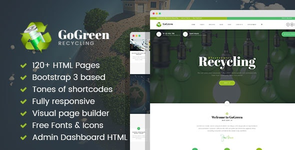 GoGreen - Waste Management and Recycling HTML Template with Builder - Business Corporate