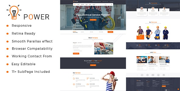 Power : Electrician & Repairing HTML Template - Electronics Technology