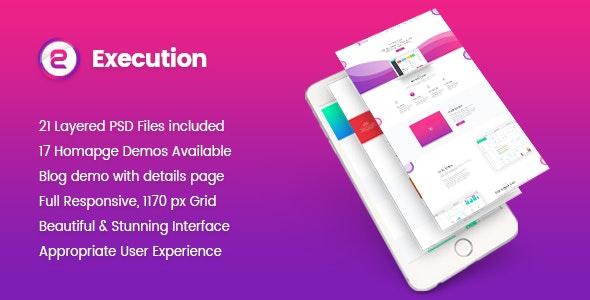 Execution - Material App Landing & Product Showcase PSD Template - Photoshop UI Templates