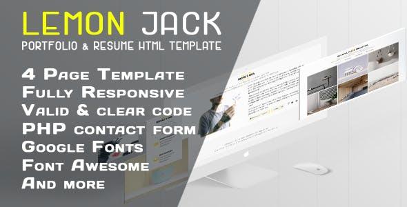 Lemon Jack | Responsive Portfolio / Resume HTML Template