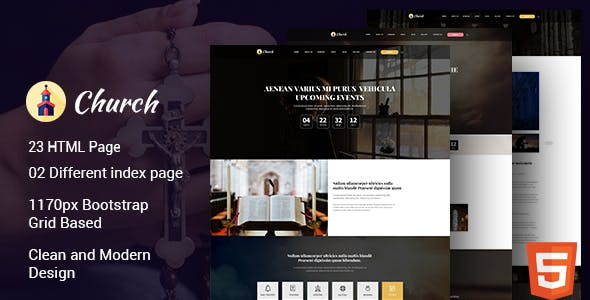 Cathedral - HTML Template is built for church