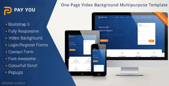 PayYou - Bootstrap 3 One Page Video Background MultiPurpose Responsive Template