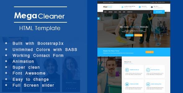 Mega Cleaner - Cleaning Responsive HTML Template