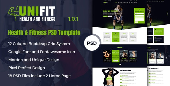 UniFit - Health & Fitness PSD Template - Health & Beauty Retail