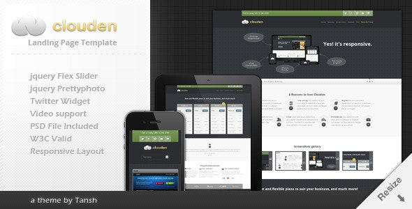 Clouden Responsive Landing /One Page Template - Software Technology