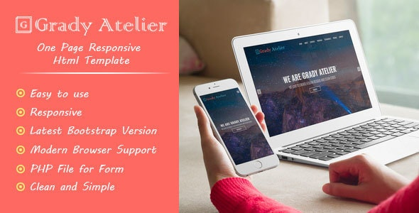 Grady Atelier - One Page Responsive HTML5 Template - Site Templates