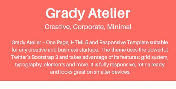 Grady Atelier - One Page Responsive HTML5 Template