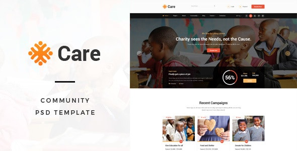 Care - Non-Profit and Fundraising Organisations Community PSD Template - Photoshop UI Templates