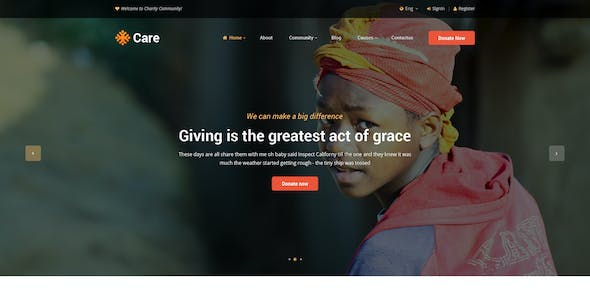 Care - Non-Profit and Fundraising Organisations Community PSD Template
