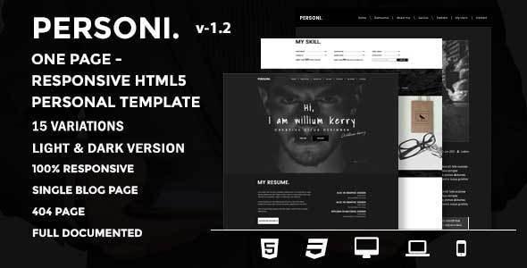 Personi | One Page - Responsive HTML5 Personal Template - Portfolio Creative
