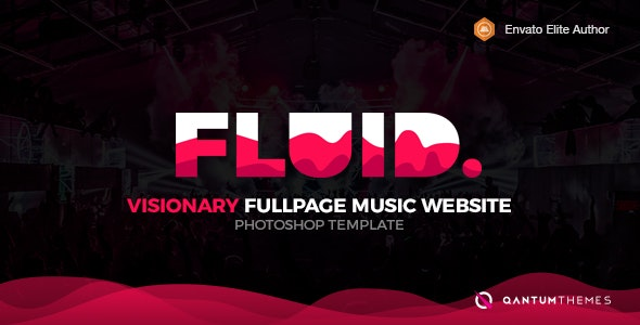 Fluid. Visionary Fullpage Music Photoshop Template - Experimental Creative