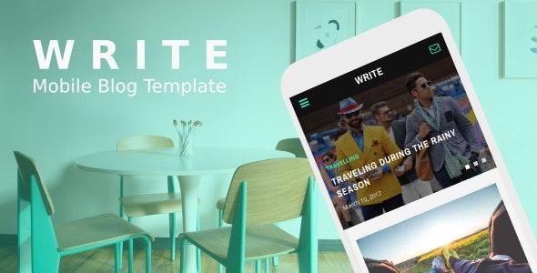 Write - Mobile Blog Template - Mobile Site Templates