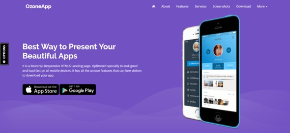 Ozone App -  Apps / Games Landing Page Template - Responsive HTML5 Template - Technology Site Templates