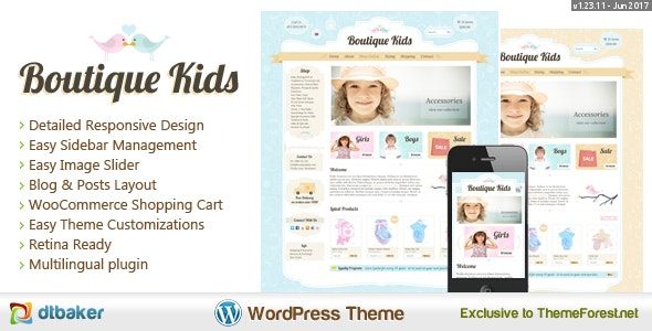 Boutique Kids Creative WordPress Theme - WooCommerce eCommerce